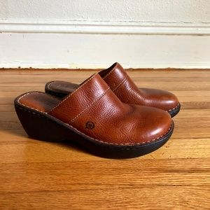 BORN Brown Leather Clog Slide Wedge Womens Shoes